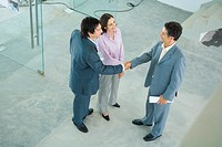 Young couple shaking hands with real estate agent, high angle view