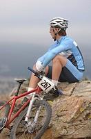 Mountain biker taking a break