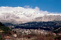 Epiros, Arta Voulgareli, general view, snowcapped mountains in the background