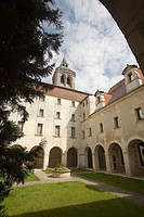 Cloister of the Municipal Library in the old benedictine convent. Cognac. France