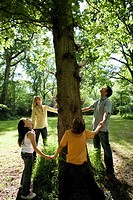 30´s family holding hands around base of three in green countryside looking up into branches,