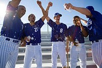 Baseball team, in blue uniform, punching air in victory post match, cheering lens flare