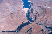 USA, Arizona, Glen Canyon Dam, aerial view