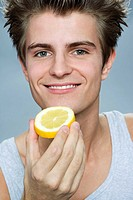 Man with lemon