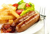 Two Sausages And Salad - Non Exclusive