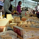 Cheese stall at market