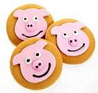 Three Pig Gingerbread Cookies Cut Out
