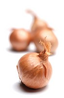 Shallots on white background