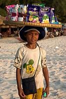 Crisp seller, Occheuteal Beach, PhnomPenh,Cambodia