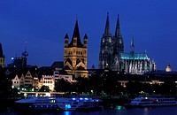 Dom at dusk, North Rhine- Westphalia, Cologne, Germany