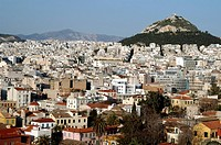 Greece: Athens from hill of Arios Pagos, with Licabettus Hill in distance