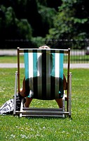 Deckchair in Hyde Park London, England, UK -