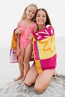 Mother and daughter at beach (thumbnail)