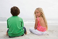 Girl and boy on beach