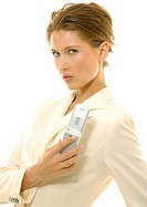 Portrait of a businesswoman holding a mobile phone