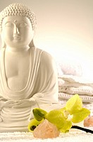 Buddha with orchids and salt crystal