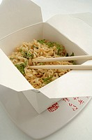 Asian lunch box with noodles