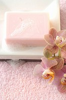 Foamy soap bar decorated with an orchid on a soap dish