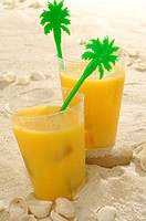Orange juice in the sand