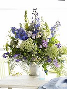 Bouquet of larkspur, phlox, antirrhinum and wild carot