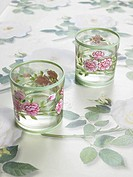 Two glasses with a flowery pattern