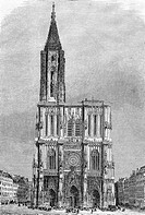 Cathedral in 1850´s. (From ´Le Tour du Monde´, 1860´s). Strasbourg. France.