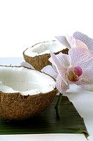 Sliced coconut and an orchid blossom