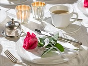 Coffee table place setting decorated with a red rose