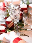 Wine glass on a Christmas table