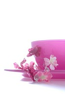 Pink bowl with blossoms