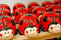 Ladybird money boxes. Garden Center. Cambrils. Tarragona province. Catalonia. Spain.