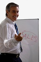 Portrait of a businessman giving a presentation and smiling