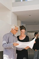 Businessman and a businesswoman discussing a blueprint in an office
