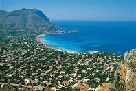 Aerial view of buildings along the coastline, Gulf Of Mondello, Palermo, Sicily Region, Italy