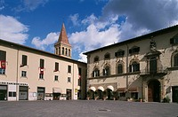 Buildings in a town square, Torre di Berta Square, Sansepolcro, Tuscany Region, Italy