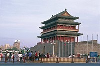 Tourists in front of a pagoda, Qianmen Gate, Tiananmen Square, Beijing, China