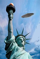 Flying Saucer Above the Statue of Liberty