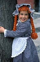 girl dressed like pipi or pippi longstocking