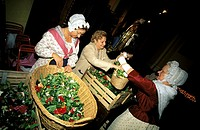 The Bravade of Saint Tropez, preparing flowers for the Patron Saint celebrations