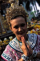 Bangkok, traditional dancer making a wai