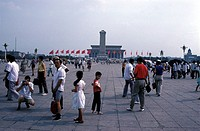 Beijing, people on the Tiananmen square