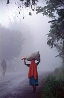 Kilimanjaro, a woman carrying a sack on her head