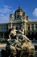 Vienna, a statue and fountain in front of the Museum of Fine Arts, Kunsthistorisch museum