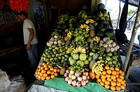 Kataragama, a stall selling fruit to pilgrims, who use it for offerings