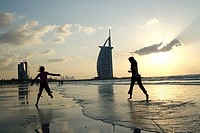 Mother and daughter on the beach in Dubai, UAE (thumbnail)