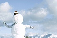 Snowman, person's arms emerging from behind, pointing in different directions