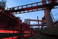 World Heritage Site coal-mine Zollverein, furnace, monument of industry,  Essen, Ruhr, North-Rhine Westfalia, Germany