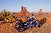 USA, Arizona, Monument Valley, motorcycle in desert