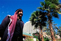 Israel, Eilat, man in front of the Princess Hotel
