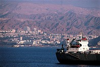 Israel, Eilat from Aqaba in Jordan
